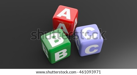 3d rendering abc colored cubes on black background