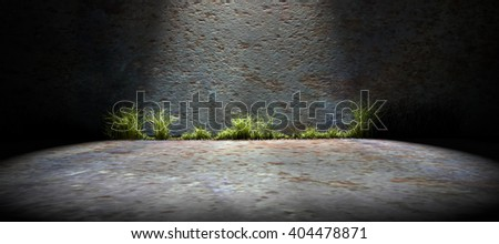 3d rendering abstract background city lifestyle.Wall and cement floor background.Spotlight  - stock photo