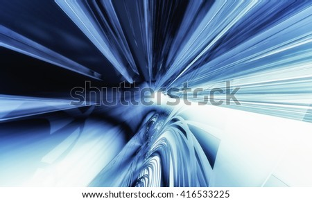 3D rendering, abstract blue composition