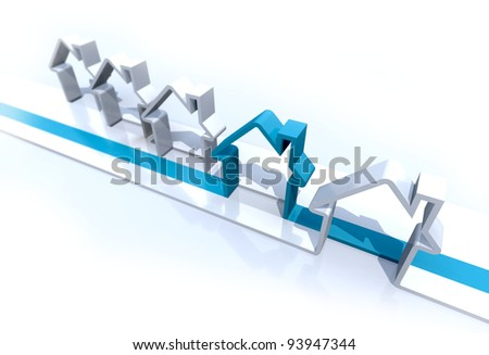 3-D rendering abstract houses in a row: the highlighted choice - stock photo