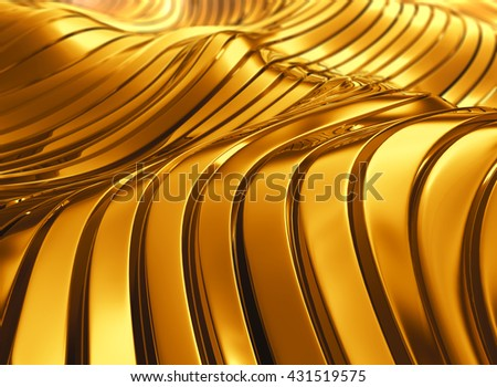 3D rendering abstract modern luxury shiny golden wave background. - stock photo