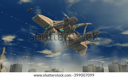 3D rendering.  Alien Spaceship futuristic UFO - stock photo