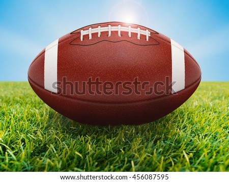 3d rendering american football ball on green field