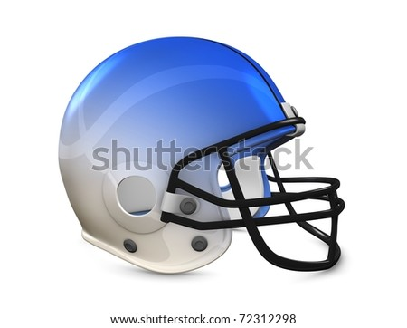 3d rendering, American football helmet isolated on white background. - stock photo