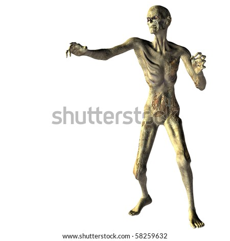 3D rendering an undead zombies with outstretched hand