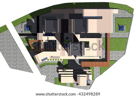 3d rendering and design - administrative and residential  tower - site plan  - stock photo