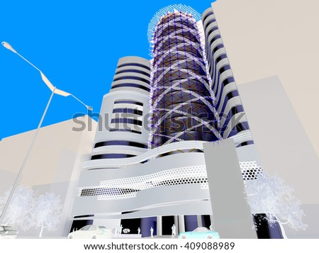 3d rendering and design - administrative tower - cyan and white - stock photo
