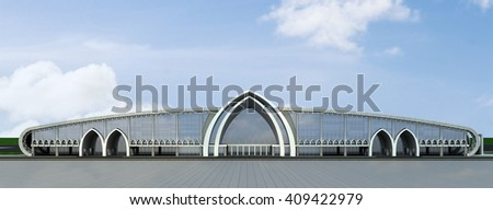 3d rendering and design - airport - elevation - stock photo