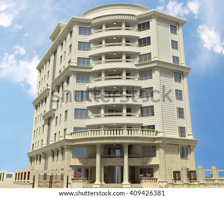 3d rendering and design - classical building - main view - stock photo