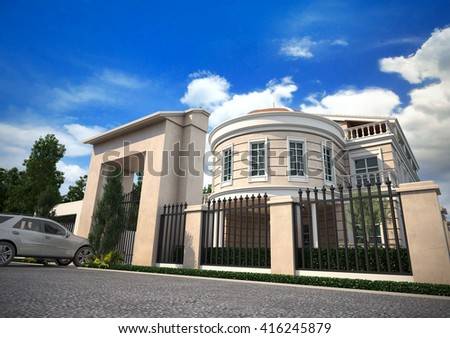 3d rendering and design- classical villa - entrance