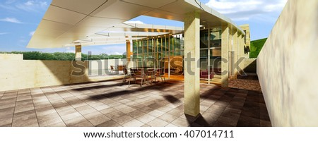 3d rendering and design - coffee shop - open space - stock photo