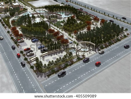 3d rendering and design - landscape - general view 2 - stock photo