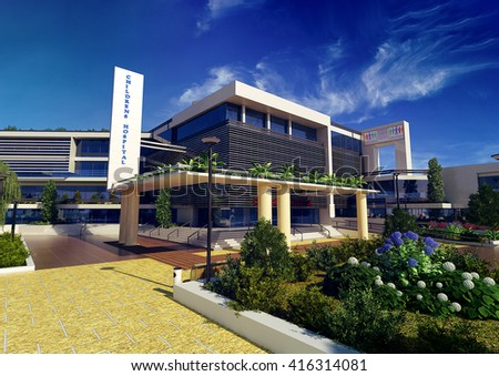 3d rendering and design - modern children hospital - main view