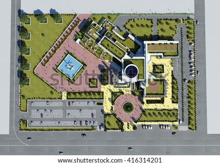3d rendering design modern children hospital stock for Modern site plan