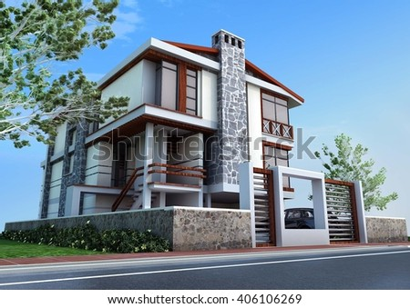 3d rendering and design - modern villa - main view - stock photo