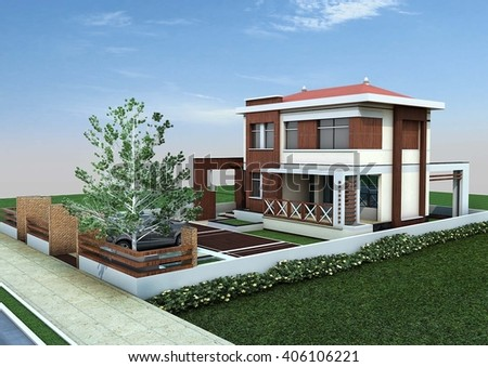 3d rendering and design - modern villa - south view - stock photo
