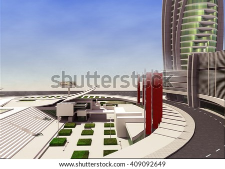 3d rendering and design - shopping mall and administrative tower - public space - stock photo