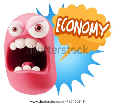 3d Rendering Angry Character Emoji saying Economy with Colorful Speech Bubble.
