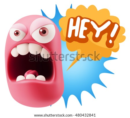 3d Rendering Angry Character Emoji saying Hey with Colorful Speech Bubble.