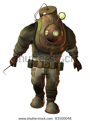 3d Rendering Antique diving equipment Steampunk - stock photo
