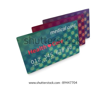 3d rendering, artist illustration medical card, isolated on white. - stock photo