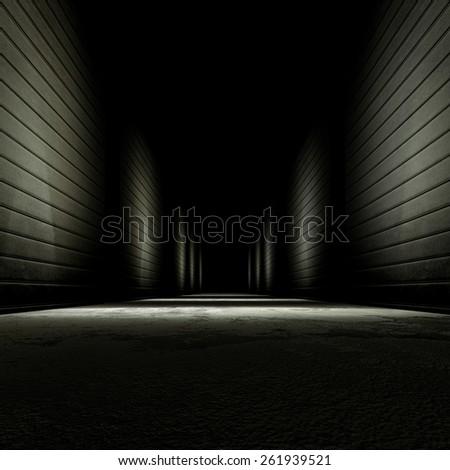 3d rendering background dark alley. - stock photo