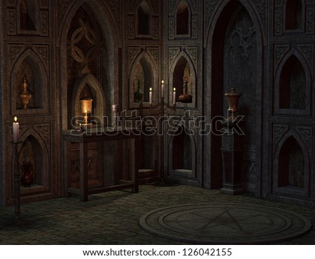 3D rendering background in place for rituals - stock photo