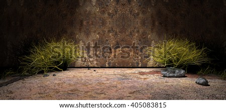 3D rendering background.Wall and cement floor background illuminated by spotlight - stock photo