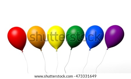 3d rendering baloons in rainbow colors on white background