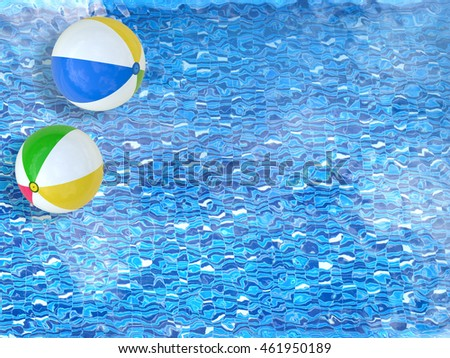 3d rendering beach balls floating on pool top view with blank space