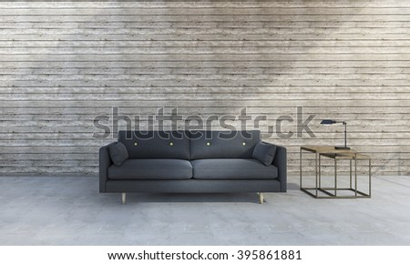 3d rendering beautiful blue sofa in front of wood background - stock photo