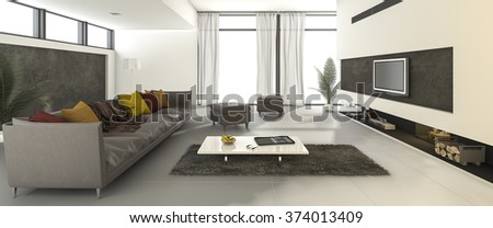 3d rendering beautiful clean modern living room with colorful sofa - stock photo