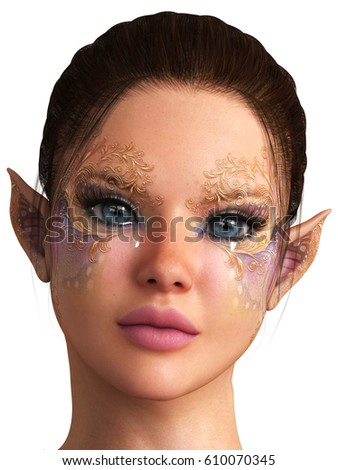 3d rendering beautiful face fairy portrait isolated on white
