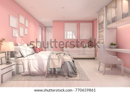 3d rendering beautiful pink vintage kid bedroom