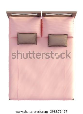 double bed top view. 3D Rendering Bed Top View Isolated On White Double