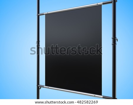 3d rendering black canvas stretch on metal pipe