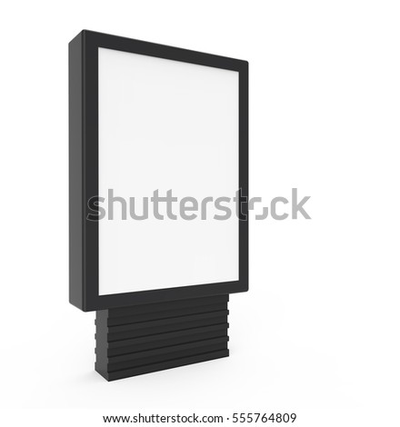 3D rendering black frame light box, with blank space isolated on white background for advertising use