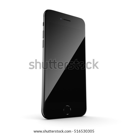 3D rendering black glossy smart phone with black screen isolated on white background