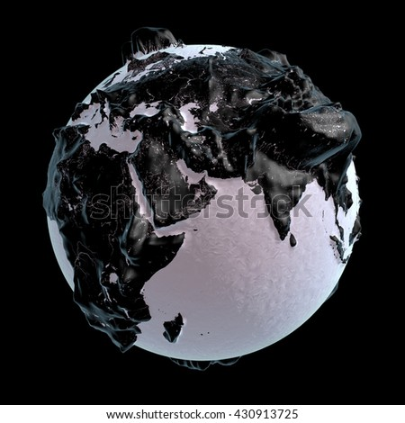 3D rendering: black raised-relief world globe