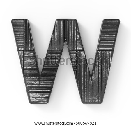 3d rendering black wooden letter w isolated white background