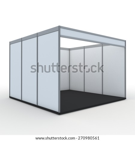 3D Rendering Blank Indoor Exhibition Trade Booth in Isolated Background with Work Paths,  - stock photo