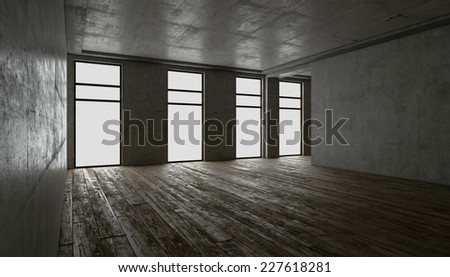 3d rendering. blank interior. concrete walls