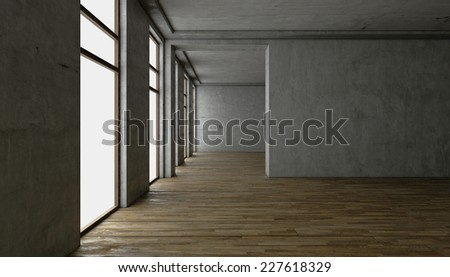 3d rendering. blank interior. concrete walls - stock photo