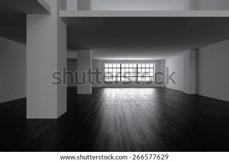 3D rendering. blank interior with dark wooden floor and white concrete walls