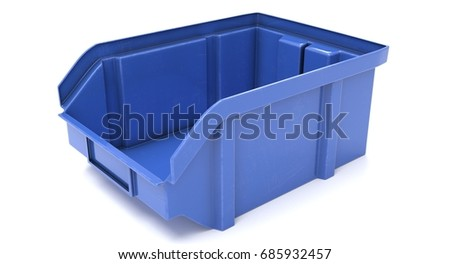 3D Rendering   Blue Plastic Storage Bin Isolated On White Background.