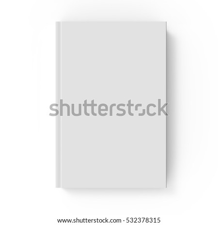 3D rendering book mockup, top view of blank hardcover book design isolated on white background