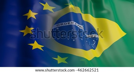 3d rendering Brazil and EU flag waving