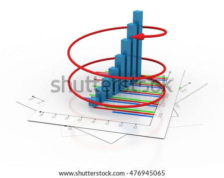 3d rendering Business graph