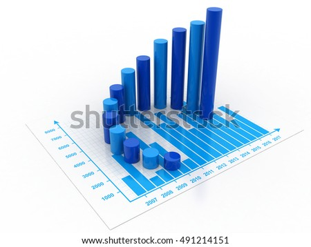 3d rendering business graph and documents