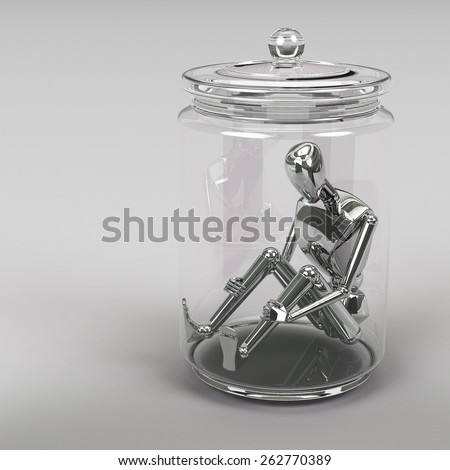 3d rendering Businessman inside a glass jar - stock photo